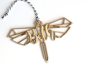 Modern Geometric Dragonfly Animal Christmas Ornament Gift Stocking Tag – Personalized
