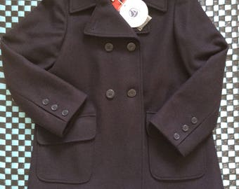 Vintage Petit Bateau Children's Wool Caban Coat / Navy Blue/ 8 years-126cm