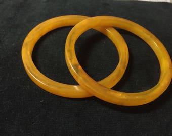 2  Yellow Marbeled Bakelite  Bangles