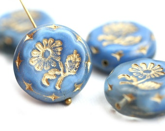 22mm Blue Flower Focal bead, Gold wash, Czech glass Round tablet floral ornament beads, blue and gold mixed color - 1pc - 1442