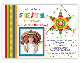 Mexican Fiesta Piñata Birthday Invitation for Boy. Also available without picture. (Digital File)