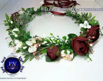 Burgundy Flower crown Bridal crown Floral crown Wedding flower crown Greenery crown Flower halo Flower hair wreath