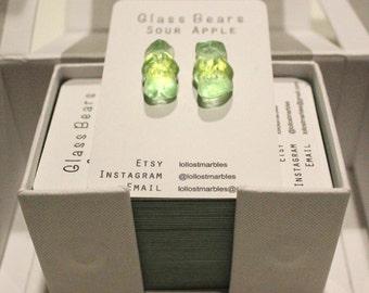 Sour Apple Glass Bear Earrings