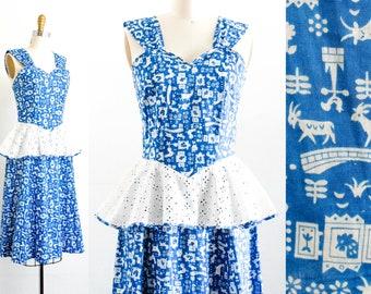 Vintage 1940s dress . Swiss Miss . blue 1940s Lanz Originals dress . 40s peplum dress
