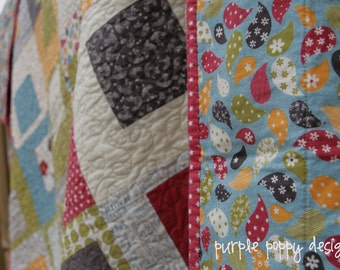 custom boxed in patchwork throw quilt (56x64)