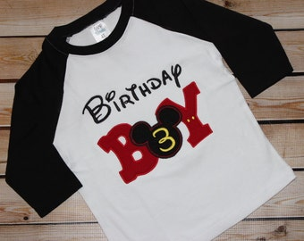 Birthday Boy Shirt with Number ~ Birthday Boy ~ Black Raglan