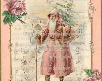 Pink Victorian  Santa Vintage Christmas  with roses Large digital download ECS buy 3 get one free