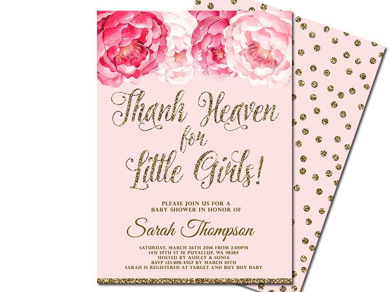 Thank Heaven for Little Girls Baby Shower Invitations Blush