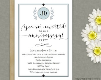 5x7 Anniversary Party Invitation Template in PDF  / Printable / DIY / Instant Download / Adobe Reader Required