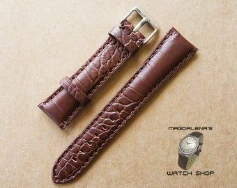 Brown 22 mm Genuine Leather Watch Strap, 22mm Wrist Watch Band, Embossed Leather Watch Straps, Leather Brown Watchband