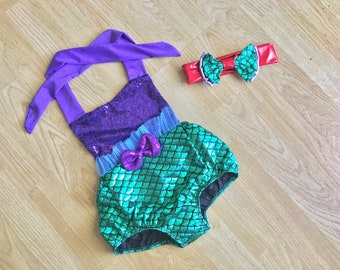 Baby Swimsuit Toddler Swimsuit Girl Swimsuit Baby Swimwear Toddler Swimwear Swimwear kids Little Mermaid Bathing suit first Birthday outfit