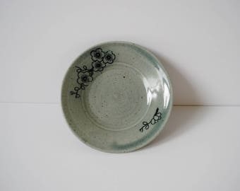 Floral Ring Dish or Plate - Handmade Ceramic Wheel-thrown Japanese Inspired Blue Green Celadon Cherry Blossom Jewelry Trinket