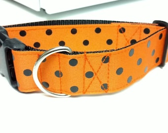 "Orange and Black Dog Collar 1.5"" - READY TO SHIP - Only 1 Available At This Price"