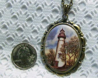 Lighthouse Necklace, Marblehead Lighthouse Porcelain Cameo Pendant - Lake Erie Lighthouse - Marblehead, Ohio Lighthouse, Guardian of the Sea