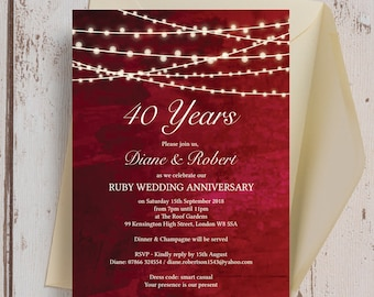 Personalised Ruby Red With Fairy Lights Wedding Anniversary 25th 30th 40th  50th 60th Invitations With Envelopes