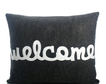 "Throw Pillow, Decorative Pillow, ""welcome"" pillow, 14X18 inch"