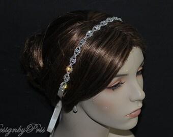 HPH4  Bridal Hairpiece Wedding Accessories. Wedding Headband Bridal Ribbon Rhinestone Headband - Rhinestone Ribbon Headband