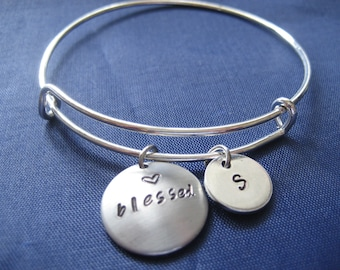 Personalized Initial Blessed Bracelet - Bangle Bracelet - Expandable Bangle Bracelet - Hand Stamped Bracelet