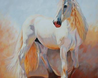Horse oil painting, White horse, White horse painting, Animals painting, White horse oil