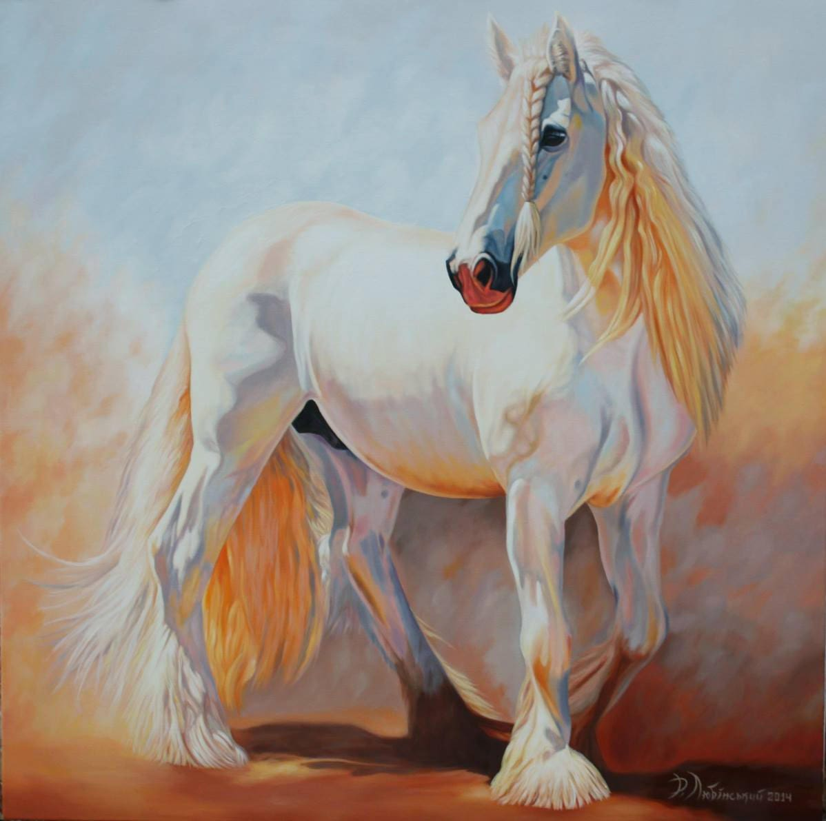 Horse oil painting White horse White horse painting Animals
