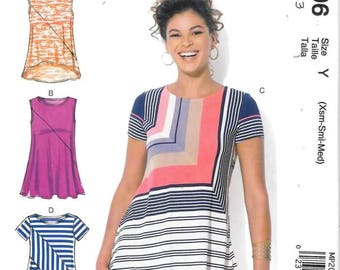 Misses Pullover Top with Hem Options, Sizes Lrg Thru XXL, New Uncut McCalls Pattern 7323