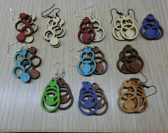 Laser-cut wooden earrings, round shapes