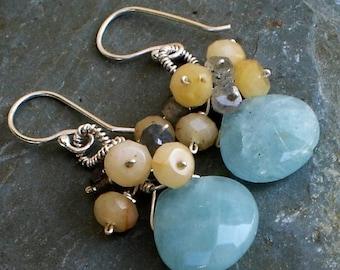 Chrysoprase Labradorite Citrine Sterling Silver dangle earrings