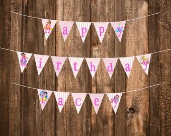 Princess Palace Pets Birthday Party Banner & Labels--PDF Digital Files