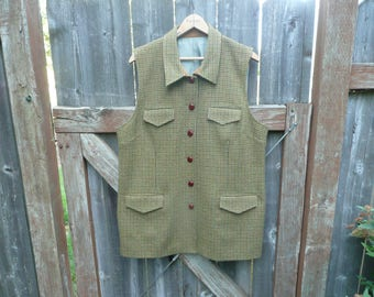 Vintage Orvis Tweed Wool Outdoor Sports Vest Hunting Fishing English Country House Look Fashion Clothing