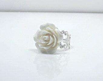 White Rose Ring; Silver Filigree Ring; Resin Rose Ring; Flower Ring; Rose Jewelry; Statement Ring; Snow White Ring; 20mm Rose Cabochon Ring