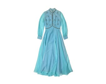 Vintage 60s Robins Egg Blue Sheer Chiffon Beaded Gown