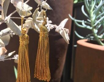 Gold Tassel Earrings - Made in Melbourne - Sterling Silver