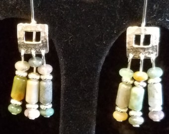 Multi-Color Agate and Silver Earrings