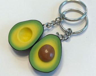 Avocado Halves Best Friends Key Chains, Polymer Clay Food Accessories, BFF, Friendship Key Chains