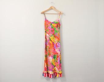 90s Sun Dress, Floral Print Dress, 90s Midi Dress, Sleeveless Mid Length Dress, Spring Dress, Summer Dress, Romantic Dress XS Small