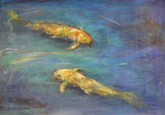 KOI Fish Painting LARGE Colorful Painting - Koi Art 40x28 - Ready to Hang - ORIGINAL Art by BenWill