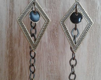 Diamonds and chain metal bronze earrings, Pearl sequin black