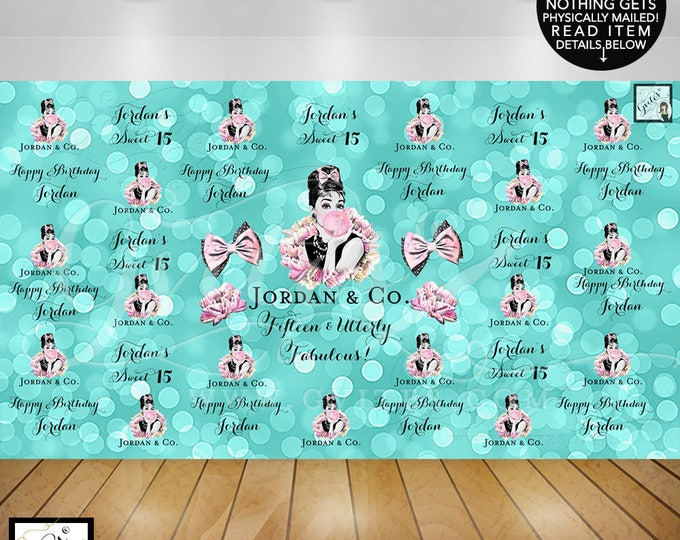 Breakfast at Tiffany's Backdrop, Sweet 15 Banner Photo, Fifteen and Utterly Fabulous, Audrey Hepburn Printable Party, Decor, DIY, Digital
