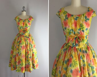 1950s Jerry Gilden Sorbet Colored Floral Party Dress