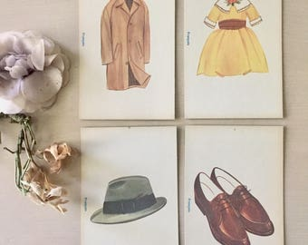 Vintage Flash Cards Set of 4- Large Size- 1960 - Clothing