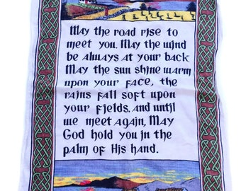 An Irish Blessing 100% made in Ireland linen quote collectible souvenir textile original wall hanging decor Saint Patrick's Day St Patty's