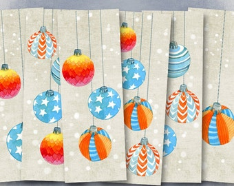 75% OFF SALE Christmas Balls - Digital bookmark B011 collage sheet printable download image size digital image christmas collage hang tags
