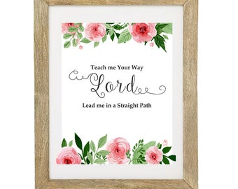 Christian Quote Floral Digital Art Print, INSTANT DOWNLOAD, Religous Art Printable, Home Decor, Floral Printable Art