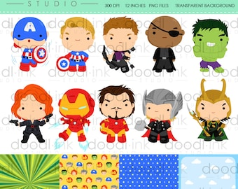SALE 50%!!! Cute Team Superheros Digital Clipart / Special Force Clip Art / Digital Paper For Personal Use / INSTANT DOWNLOAD