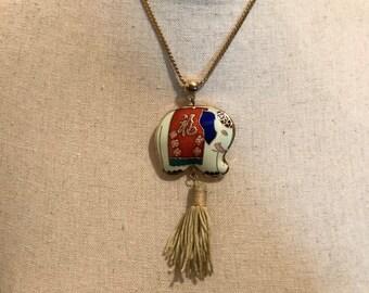 1980's enamel and gold elephant pendant necklace