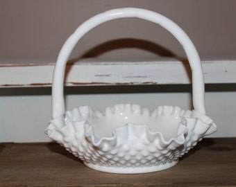 Vintage Fenton Hobnail Milk Glass Basket with Handle