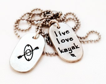 Kayak necklace - Kayaking Jewelry - Outdoors Jewelry - Paddling Necklace - Gift for Kayaker