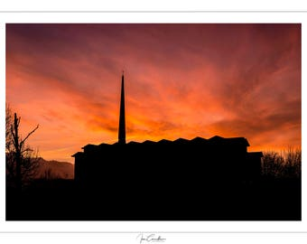 Sunset- Church of Annunciation - Finglas, Co.Dublin. Mounted Fine Art Print.