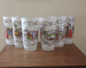 """Mid Century Set of 6 Currier and & Ives """"Gay Fad"""" Painted Scenes on Frosted Glass Glasses"""