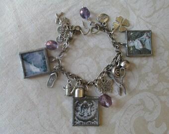 Gardener's Charm Bracelet Charmed Vintage Classic Gardens 3 SQUARES